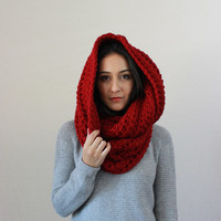 chunky infinity scarf, hooded knit scarf thick textured fall winter accessory, gifts for her, shawl, wrap // The Lourdes - CRANBERRY red