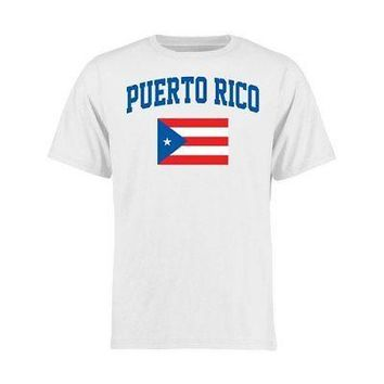 Licensed Sports Puerto Rico Youth Flag T-Shirt - White KO_20_2