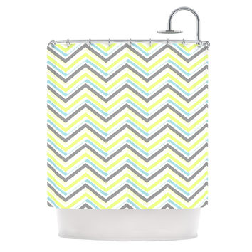"CarolLynn Tice ""Ideal"" Gray Yellow Shower Curtain"