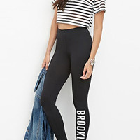 Black Sport Leggings with BROOKLYN Print