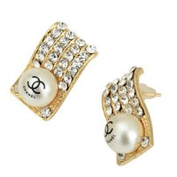 gold plated square shape girl/lady's earrings,size 1.4*1.8cm fashion