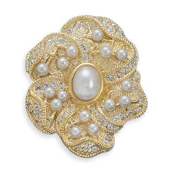 Bridal Pin 14 Karat Gold Plated Floral Design