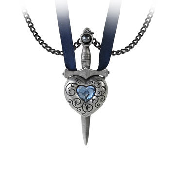 Alchemy Gothic Love is King Blue Heart & Sword Pendant Necklace