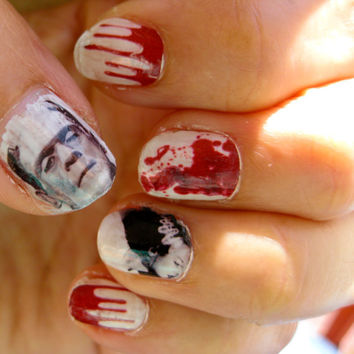 Bloody nails Monster combo  FRANKENSTEIN spooky halloween movie NAIL decals