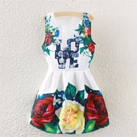 """LOVE"" Floral Print Sleeveless Pleated Dress"