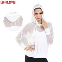 UMLIFE 2019 Yoga Hooded Jacket Women Sports Outdoor Fitness Mesh Patwork Yoga Hollow Coat Lady Slim Breathable Running Clothes