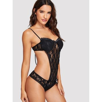 Criss Cross Floral Lace Teddy Black