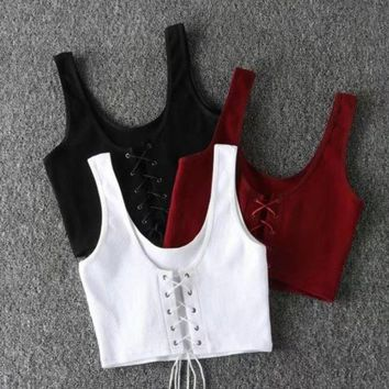 PEAPUF3 Fashion Sexy Chest Lace Up Type Hollow Pure Color Vest