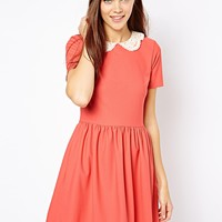 River Island | River Island Crochet Collar Skater Dress at ASOS