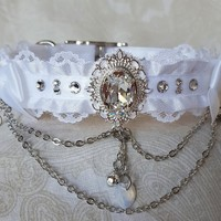 "13-15"" White Crystal Buckling Lace Slim Satin Lined Tug Proof Kittenplay Petplay Collar"