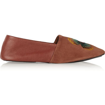 NewbarK - Clash embroidered suede and leather loafers