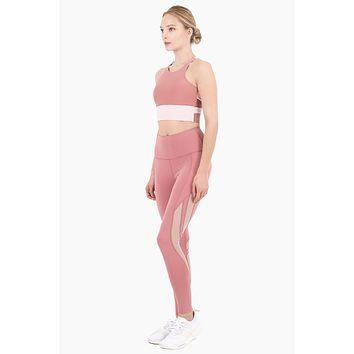 Scarlett High Waisted Mesh Cut Out Leggings - Dusty Pink/Peony Pink