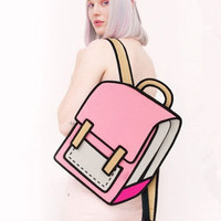 Nylon Backpack 3D Jump 2D Drawing Vector Cartoon Paper Comic Backpack Bag Satchel Bookbags Unique Gift Idea