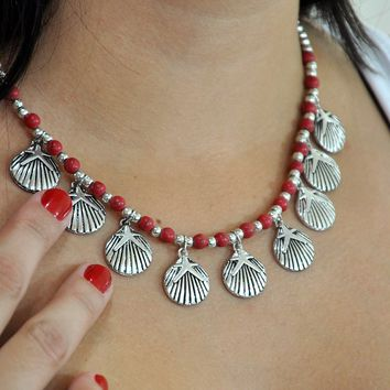 Ocean Whisperer Necklace with Sea Shell Charms