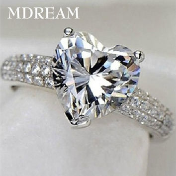 30% silver ring and Platinum filled with 3 Carat CZ Diamond for women wedding fashion heart style rings jewelry Size 6 7 8 9 10 MSR048 [7982895175]