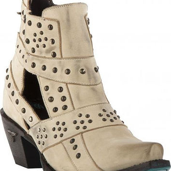 Lane Boots - Studs & Straps Distressed Bone - LB0289G