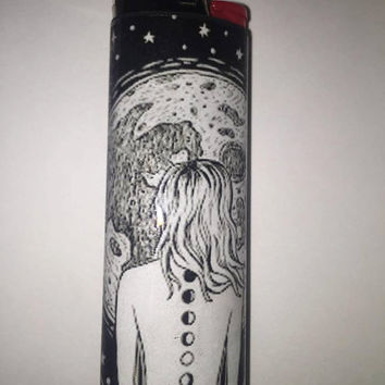 Moonphase chakras in space custom BIC lighter