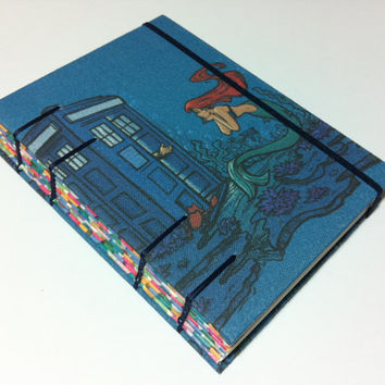 Little Mermaid and Tardis - Handmade Fabric Journal Notebook - Coptic Stitched