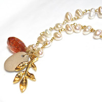 River Stone Necklace Sunstone Necklace Nature Jewelry Sunstone Jewelry Charm Necklace Pearl Station Necklace Long Necklace Holiday Style