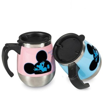 450ml Disney Mickey Mouse Cartoon Cup Stainless Steel Mug with Lid Water Coffee Bottle Home Office Kettle Student Drinkware Gift
