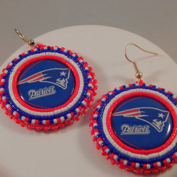 Red White Blue beaded sports fan earrings, New England jewelry, football fanatic, pow wow regalia, contemporary beadwork, native american