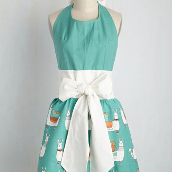 Llama, I'm Coming Home Apron | Mod Retro Vintage Kitchen | ModCloth.com