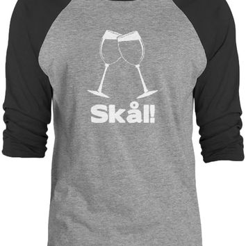 Big Texas Wine Glass Swedish Cheers (White) 3/4-Sleeve Raglan Baseball T-Shirt