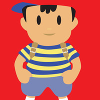 Ness - Earthbound - Super Smash Brothers - Minimalist Art Print by Adrian Mentus