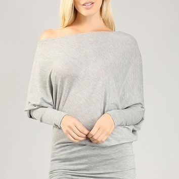 Heather Gray Off Shoulder Tunic Top