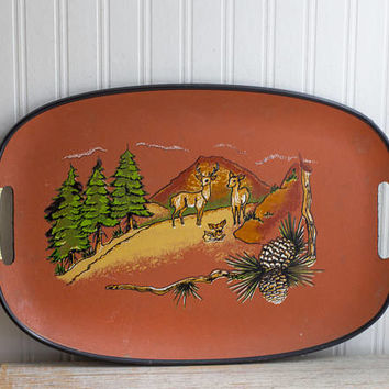 Vintage Serving Tray, Woodland Deer in Forest, Rust orange rustic home decor