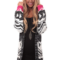 Black and White Cardigan with Bright Pink Detail