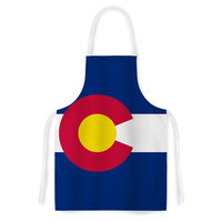 """Bruce Stanfield """"Flag of Colorado II"""" Blue Red Artistic Apron"""