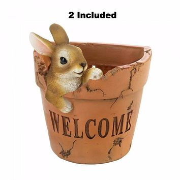 Set of 2 Adorable Wall Bunny Planters