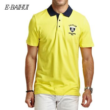 Summer style Men's Regular Slim Lapel Embroidered Polo Shirts cotton men casual tops