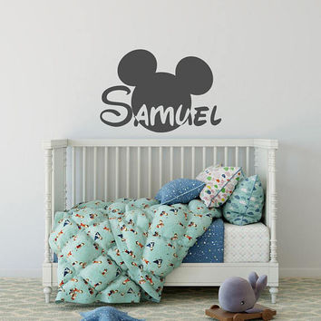 Mickey Mouse Wall Decal with Personalized Name - Name Wall Decal, Mickey Mouse Nursery Decor, Custom Name Decal, Wall Decals Kids Room K44