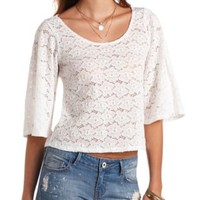 Lace Angel Sleeve Swing Crop Top by Charlotte Russe