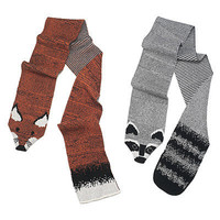 "RECYCLED COTTON ANIMAL ""STOLES""- RACCOON AND FOX 