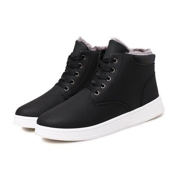 Winter Warm Solid Lace Up High Tops Sneakers