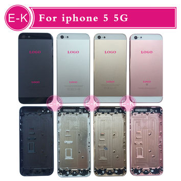 Rose Gold Black Silver Gold High quality For iphone 5 5G back housing metal alloy cover with with sim card tray +battery sticker