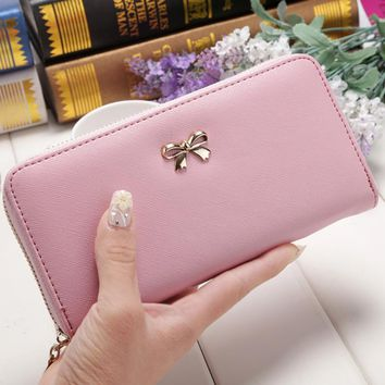 Ladies Cute Bowknot Women Long Wallet Pure Color Clutch Bag 2017 New Purse Phone Card Holder Bag Wallet