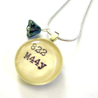 Sterling Silver Dewey Decimal Necklace with Iridescent Czech Glass Flower Limited Edition