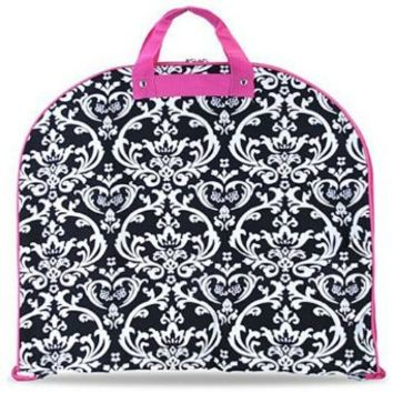 Damask Print Garment Bag - Dance Cheer Pageant Travel Luggage (pink/black)
