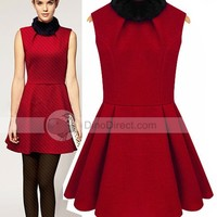 Wishmi Women Wool Blends Fur Collar Sleeveless Short Winter Red Dress - DinoDirect.com
