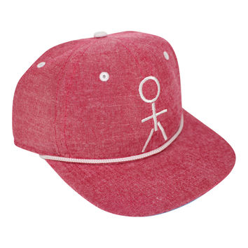 Stickman Snapback Hat - Heather Red / White