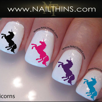 Unicorn Nail Decal Magical Horse Nail Design by NAILTHINS on Etsy