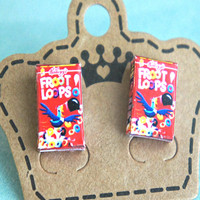 froot loops cereal box earrings
