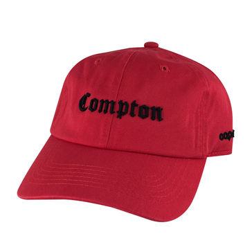 Retro NWA 3D Compton Old English Hat Dad Cap - Red Black