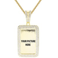 Custom Dog Tag Picture Memory Gold Finish Pendant