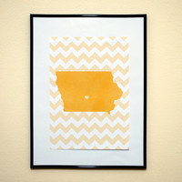 Chevron Pattern State of Iowa Silhouette With A Heart Art Print 8x10 Inches Buy 2 Get 1 Free