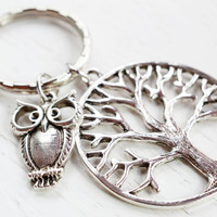 Owl Charm Keychain Keyring, Tree of Life Key Ring, Silver Tree of Life with Owl Bird, Leaf and Owl, Tree Charm Owl Accessory,Bird Charm Keyr
